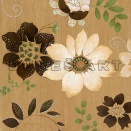 Tablou cu flori albe si maro inramat