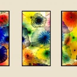 Tablou triptic Flori de sticla inramat