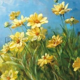 Tablou decorativ '' Flori galbene in gradina'' inramat