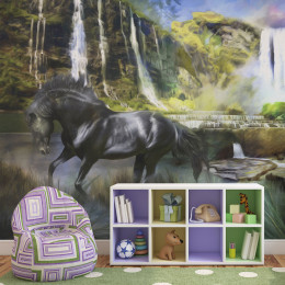 Fototapet - Horse on the background of sky-blue waterfall