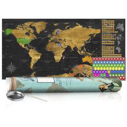Harta răzuibilă - Golden Map - Poster (English Edition)