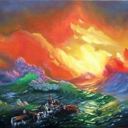 """Pictura """"Furtuna pe mare""""reproducere Ivan Aivazovsky"""