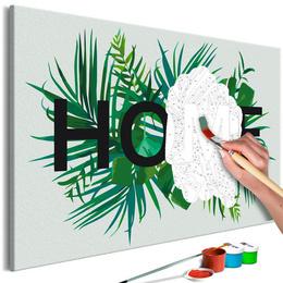 Pictura pe numere 60x40 cm cu sasiu - Home pe frunze