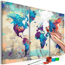 Pictura pe numere - Harta Lumii (Albastru si Rosu) 3 piese
