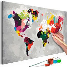Pictura pe numere - Harta Lumii (Culori Vii)