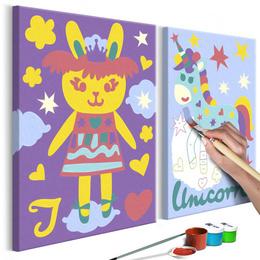 Pictura pe numere - Iepure si Unicorn