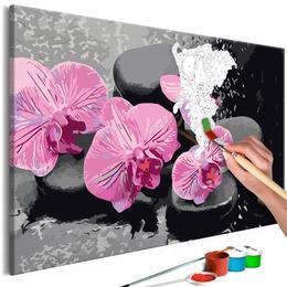 Pictura pe numere - Orhidee cu Pietre Zen (Fundal Negru)