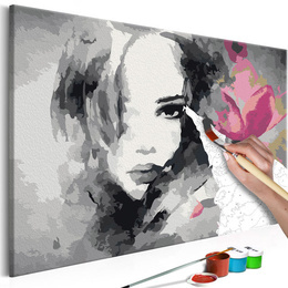 Pictura pe numere - Portret Alb Negru si o Floare Roz