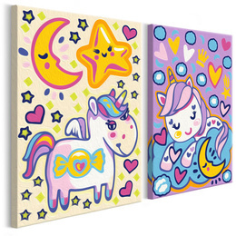 Pictura pe numere - Unicorni (Buna Dimineata si Noapte Buna)