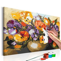 Pictura pe numere - Vaza cu Panselute