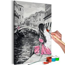 Pictura pe numere - Venetia (Fetita intr-o Rochie Roz)