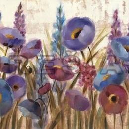 Tablou ''Flori albastre si mov'' inramat