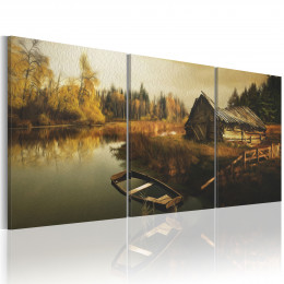 Tablou canvas Casa veche langa padure si lac departe de civilizatie