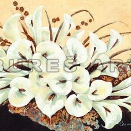 Tablou decorativ cu flori ''Buchet de crini'' cu foita argintie, inramat