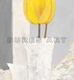 Tablou decorativ cu lalele galbene, inramat