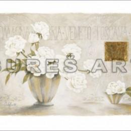 Tablou decorativ Flori albe in vaze inramat