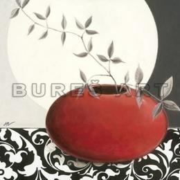 Tablou decorativ ''Natura statica in alb, negru si rosu'' inramat