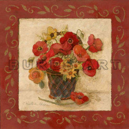 Tablou floral cosulet cu maci rosii si flori galbene