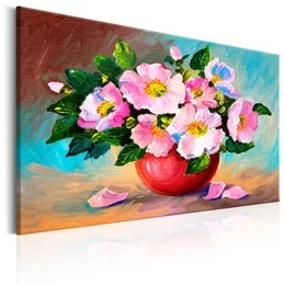Tablou pictat manual - Buchet cu flori roz de primavara
