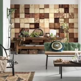Fototapet Patratele de lemn texturate