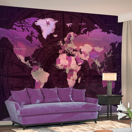 Fototapet - Purple World Map
