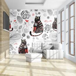 Fototapet vlies Grafica cu pisici iubarete