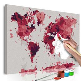Pictura pe numere Harta lumii -acuarela rosie