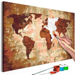 Pictura pe numere - Harta Lumii (Culoarea Maro)