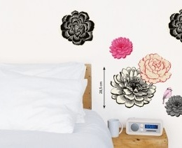 "Sticker decorativ ""Flori negre"""