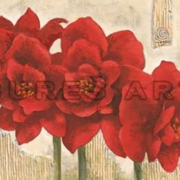 Tablou Flori rosii cu foita argintie inramat