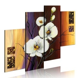 Tablou pictat manual - White orchid
