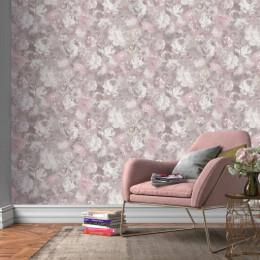Tapet superlavabil roz, mov prafuit cu flori vintage