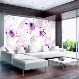 Fototapet Decor floral alb-violet