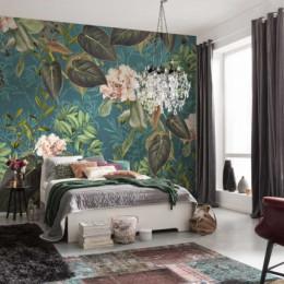 Fototapet Design vegetal cu frunze si flori roz