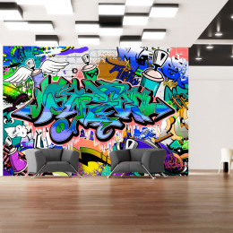 Fototapet - Graffiti: blue theme