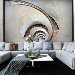 Fototapet - White spiral stairs