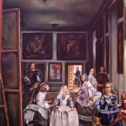 Pictura Domnisoarele de onoare Diego Velasquez, inramata, 50x60 cm