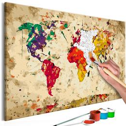 Pictura pe numere - Harta Lumii (Stropi de Culori)