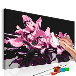 Pictura pe numere - Orhidee Roz (Fundal Negru)
