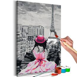 Pictura pe numere - Paris - Turnul Eiffel - Fata in Roz