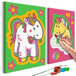 Pictura pe numere - Unicorni (Verde si Roz)