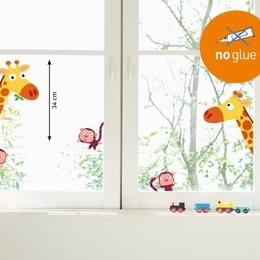 Sticker de geam '' Girafe si maimute''