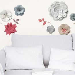 Sticker de perete Flori 3D de hartie