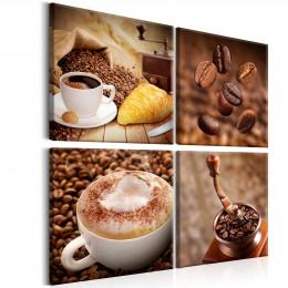 Tablou Cafea cu frisca si croissant