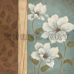 Tablou decorativ cu flori albe pe fundal turcoaz, inramat