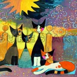 Tablou decorativ cu pisici, inramat