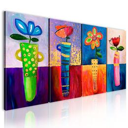 Tablou pictat manual -Flori in culorile curcubeului