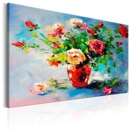 Tablou pictat manual - Trandafiri rosii in vaza