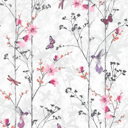 Tapet lavabil cu flori, fluturi si pasari