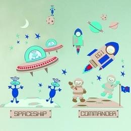 """Sticker decorativ pentru copii """" Nave spatiale''"""